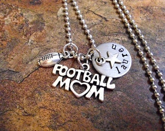 Personalized Football Mom Necklace, Sports Jewelry, Football Jewelry, Hand Stamped Football Jewelry