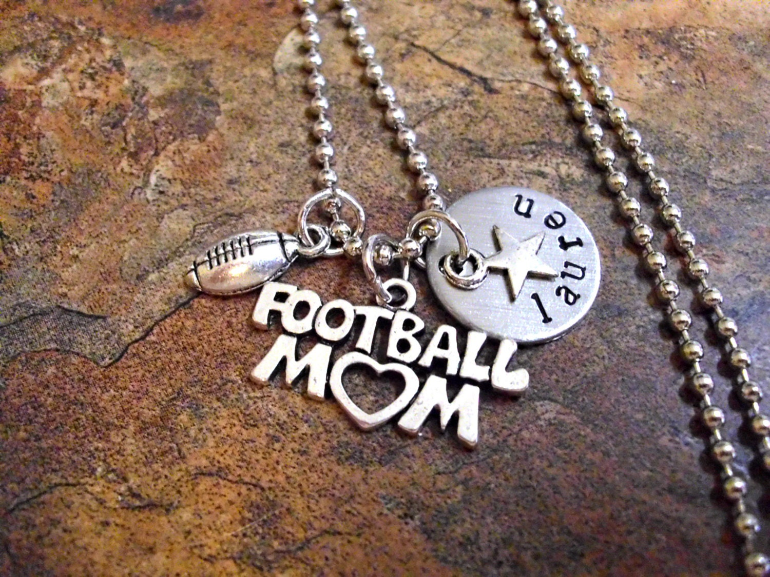personalized football mom necklace sports jewelry football. Black Bedroom Furniture Sets. Home Design Ideas