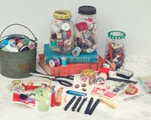 Huge Vintage Sewing Supplies & Notions Lot / 1950s Americana Crafts