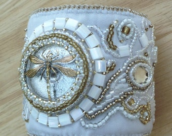 white dragonfly beaded leather cuff