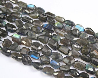 Natural Blue Grey Flash Fire Labradorite Step Cut Faceted Uneven Nugget Beads Strand, 10 inches, 8-17mm. SKU1170A
