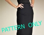 Pattern of high waist pencil skirt  knee ,ankle, or 3/4 length choose your size from 2 to 18 or your mesurments