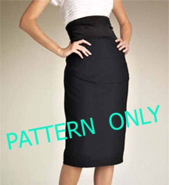 Pattern of high waist pencil skirt knee ankle or 3/4 length
