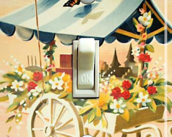 OSLO Fleurie Vintage Travel Poster Switch Plate (single or double) ***FREE SHIPPING***