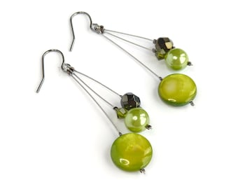 Lime Green Earrings - Bridesmaid Jewelry - Olive and Apple Pearl Drop Earrings - Lime Dangle Earrings - Spring Green Bridesmaids Gifts