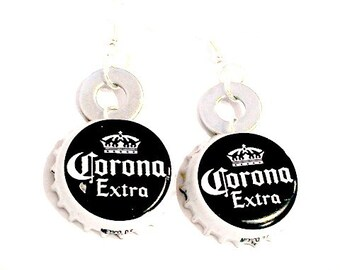 Corona Bottle Cap Earrings Beer Jewelry Corona Jewelry Recycled Earrings Eco Friendly