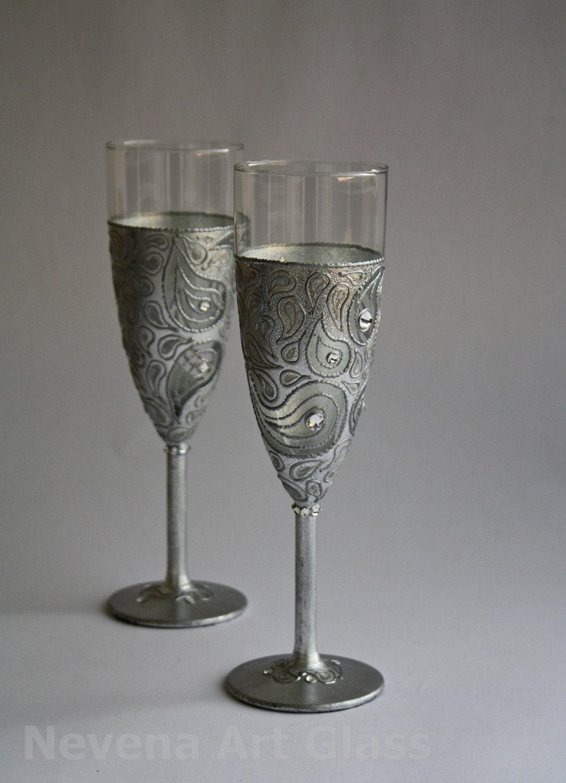 Wedding Glasses Hand Painted Silver Swarovski Crystals Set Of