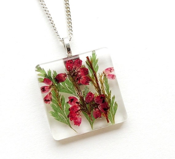 Heather Necklace, Real Flowers in Resin Pendant, Botanical, Flora