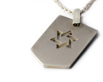 Star of David, Army Necklace, Hanukkah gift, jewelry gift pendent, star David Jewelry, sterling silver, gift for jewish