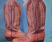 Tony Lama Boots Tan and Brown Rockabilly Urban Cowboy Boots size 8.5 American