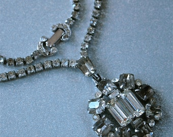 Czech Necklace 30's Art Deco Gray and Clear Rhinestones Pendant Wedding Bridal Necklace