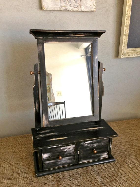 Black Hand Painted Distressed Wood Vanity Mirror
