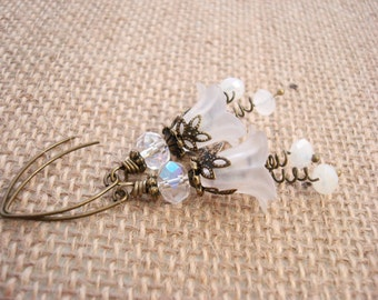 White Antique Brass and Lucite Flower Earrings, Vintage Style Romantic Earrings, Free Shipping