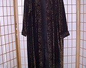 Vintage 80s Velvet Maxi Coat Cover Up Leopard Print Womens Evening Sculpted Floral Trim possibly One Size