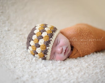Granny Square Crocheted Baby Hat, Shabby Chic Newborn Photography Props and Winter Hats