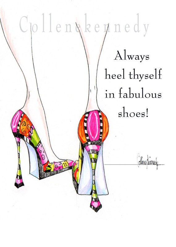 illustrated high heel shoe print with shoe quote