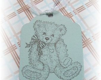 Baby- Shower- Wish - Gift- Teddy Bear -Tags (8) BLUE