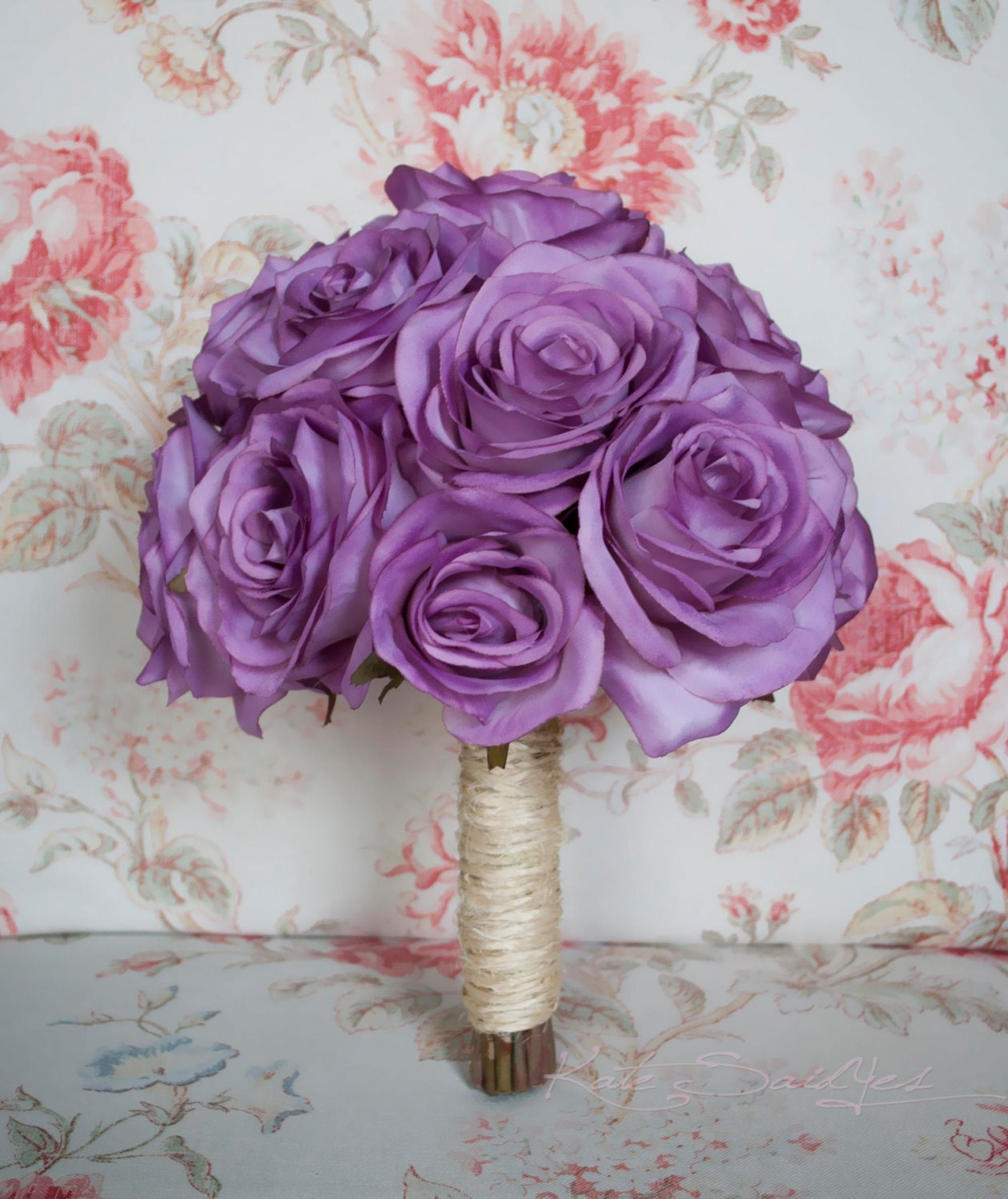 Lavender Rose Gypsophila Bridal Bouquet: Wedding Bouquet Lavender Rose And Twine Rustic Silk By