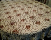 Thanksgiving or Christmas tablecloth ~ large Vintage Lace Hand Crochet cream colour ~ holidays decorating ideas,  table linens and houseware