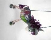 Sigizmund - Felt Donkey. Art Toy. Felted Stuffed Marionette Puppet  Animals Toys. grey  purple claret red maroon, mteam MADE TO ORDER.