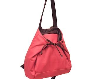 Backpack,Shoulder bag,Cross body bag, in Pink Rose leather,named Mara MADE TO ORDER