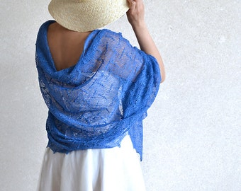 Blue Scarf Linen Shawl Wedding Stole Bridesmaids Gift Stole Sheer Wrap Knitted Lace Scarf Boho Scarf Linen Gauze Summer Shawl