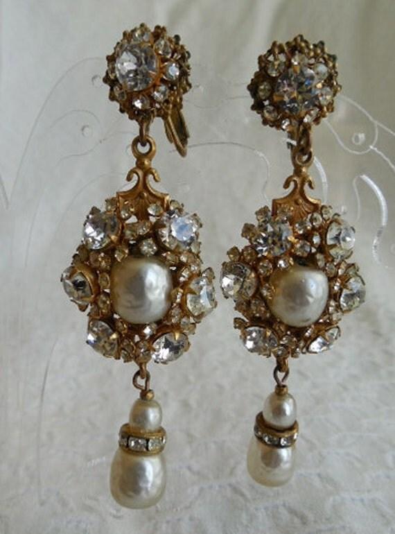 Vintage Signed Miriam Haskell Baroque Pearl & Rhinestone Drop Earrings