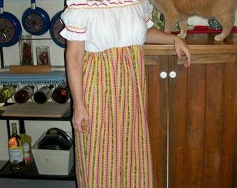 70s Hippie Peasant Renaissance Maxi Dress MED/LARGE