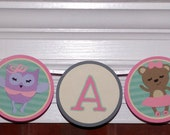 CLEARANCE! Dancing Animals  It's A Girl Baby Shower Banner ... Mouse Owl Bear Alligator ... READY to SHIP ...  Pink Grey Teal ... adjustable