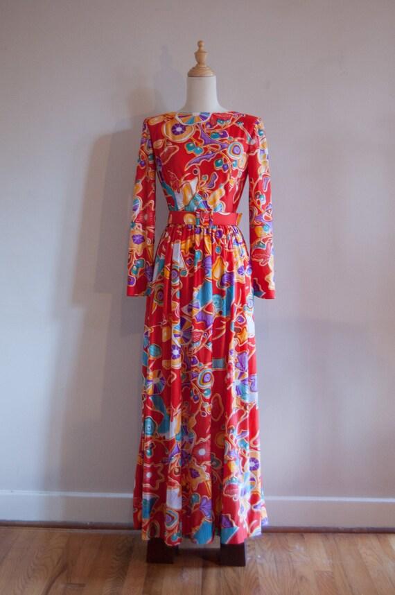 1960s doncaster floral maxi dress vintage bohemian