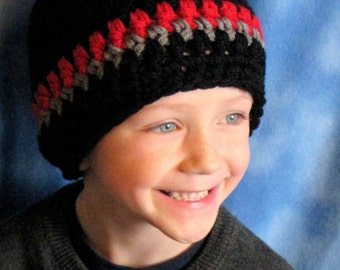 Boys Hat Beanie - Black w Red and Grey Stripe - Children - Baby - Any Size or Color