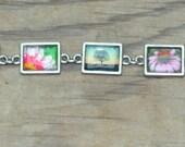 Antiques Silver Photo Bracelet Flower Theme - Tree Dahlia Gerber Daisy Coneflower Colorful Photography