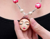 Ceramic Tea Lady Pink Fashion Necklace with Pearls