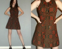 XS S Vtg 60s Mod Space Age Twiggy Knit Geometric Pocket Corset Tie Micro Mini Dress Jumper