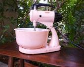 Vintage Pink Sunbeam Mixmaster Stand Mixer, Large Pink Glass Bake Bowl, Blades Model 11