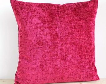 Cerise Pillow Cover, 18 Inch Plain Cushion Cover, Solid Pillow Sham - Chenille Cerise