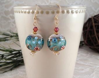 Ocean Earrings, Beach Earrings, Glass Bead Earrings, Bead Earrings, Lampwork Earrings