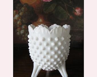 Vintage Milk Glass Hobnail Vase by Fenton / Milk Glass Wedding Decor