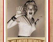 Birthday Card, Screen Queen, Birthday Cards, black and white, Scifi art, Retro Card, monster movie, alternate histories, geekery