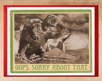 Sorry Card, Monster Art, Kaiju, Im sorry, gamera, kaiju art, tokyo, turtle, oops, geekery, sorry, alternate histories