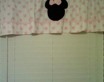 Minnie Mouse Pink and White Polka Dot Curtain Valance