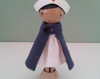 Nurse Clothespin Doll - MADE TO ORDER