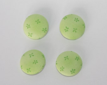 Four Fabric Covered Buttons: Spring Green