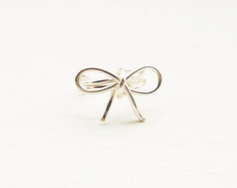 PAIR of Ear Cuff Silver Bow Dainty Ear Wrap Earcuff