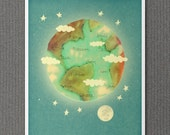 Home // Digital Typography Print, Outer Space Theme, Earth, Eco-Friendly, Green, Playroom, Kids Room Art, Nursery Art, Dorm Room Decor