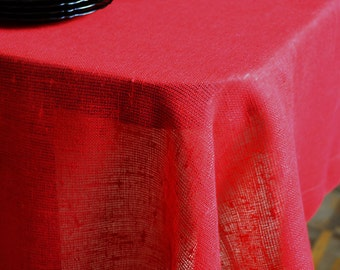Red Tablecloth - Rustic Linen Table Cloth - Easter Table Decor - Red Tablecloth With Borders - Linens For Special Occasions
