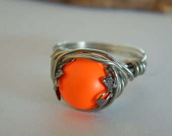 Wire Wrap Ring Swarovski Glass Pearl Neon Orange Silver Wire wrapped Ring