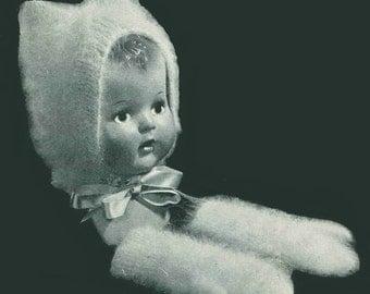 Vintage 1940s Angora Kitty Bonnet & Mittens PDF Knitting Pattern