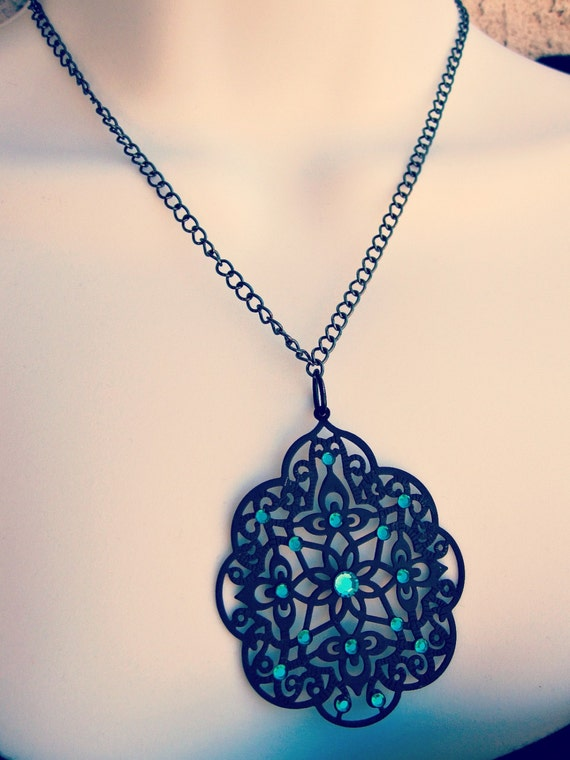 Metal Lace Necklace - Black Emerald Necklace - Gothic Necklace - Black Necklace 50% Off (Ellyn)