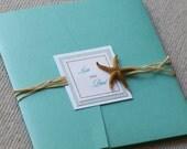 Starfish invitation, destination wedding invitation, tiffany invitation, beach invitation, custom colors, custom sample